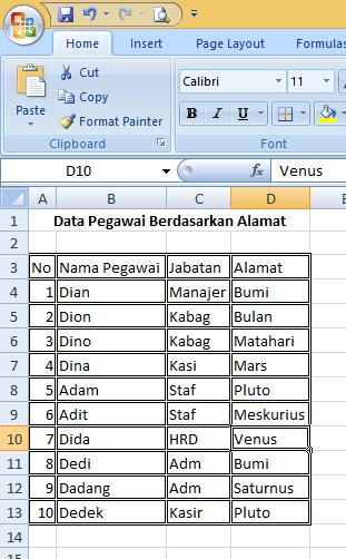Trik Mudah Membuat Tabel di Microsoft Excel 2007