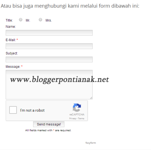 Cara Membuat Form Kontak Blogger Responsive