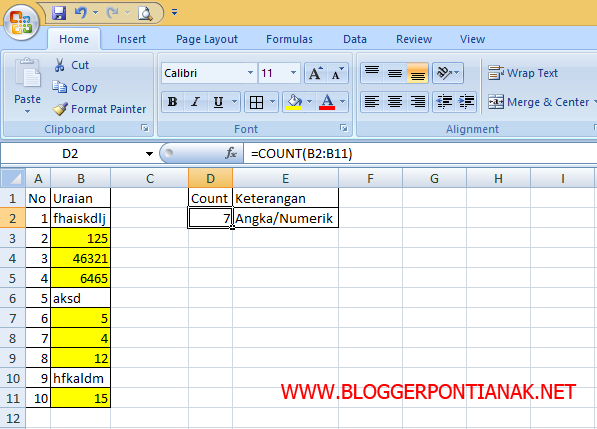 Cara Cepat Menghitung Sel yang Bersisi Angka pada MS Excel 2007