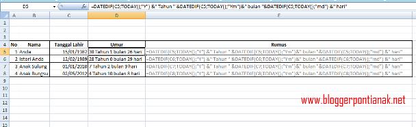 Cara Menghitung Umur di Excel 2007
