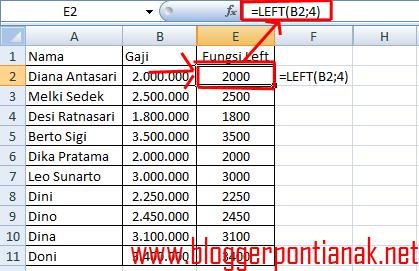 Fungsi Left di Excel 2007