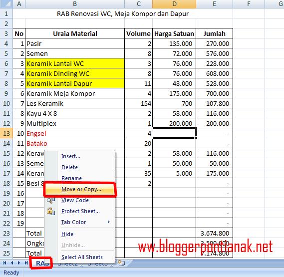 Cara Memindahkan Sheet pada Microsoft Excel