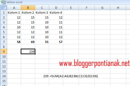 Rumus Excel untuk Penjumlahan Antar Kolom