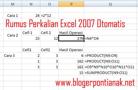 Rumus Perkalian Excel 2007 Otomatis
